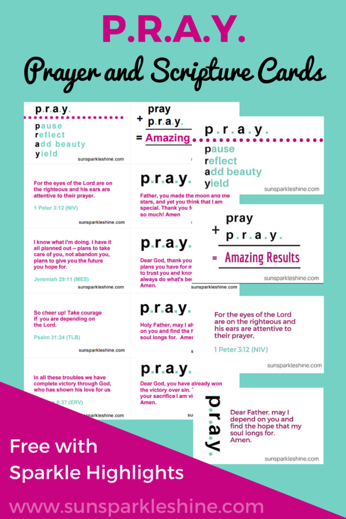Add some sparkle to your day with prayer and scripture cards. Bible verses combine with heart-felt prayers to lift your day. Free download for subscribers.
