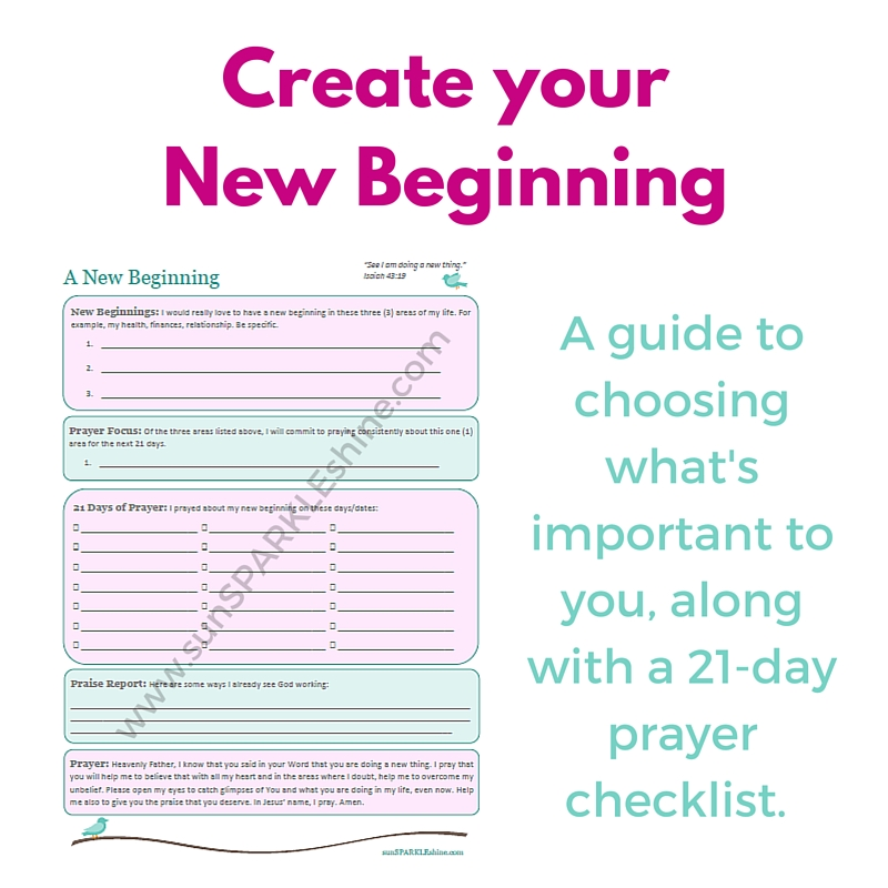 A free guide to choosing what's important to you, along with a 21-day prayer checklist to help you jump into your new beginning.