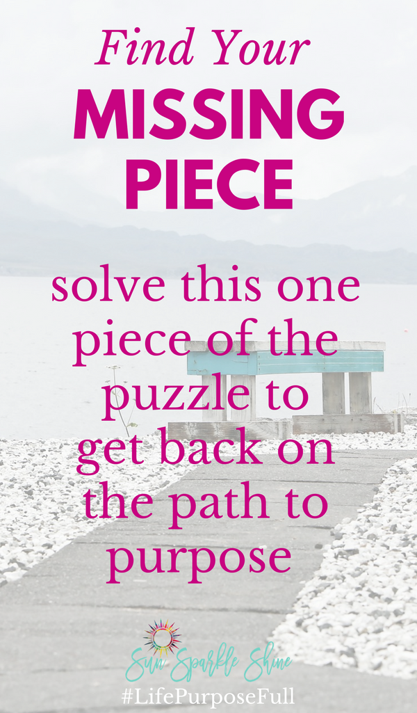 What's your missing piece? You know, that one thing that's holding you back from achieving your purpose. Here's how to find it and move forward confidently with joy. Learn from the successes and failure from the rich young ruler in Mark 10.
